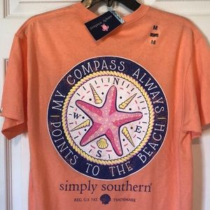 Simply Southern Tee Shirt NWT Compass Beach
